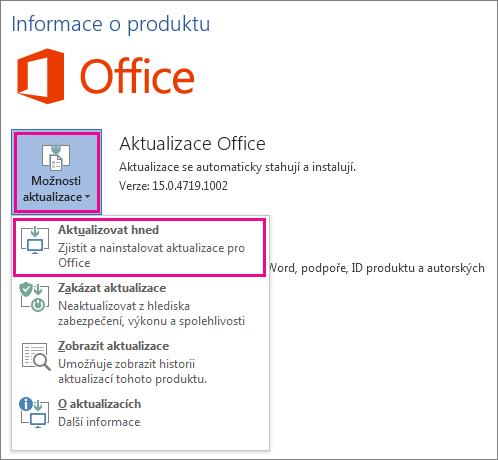 Ruční kontrola aktualizací Office ve Wordu 2016
