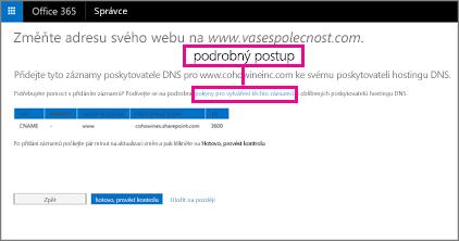 V části Chage your website address (Změnit adresu webu) vyberte odkaz pro podrobný postup.