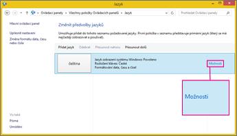 Možnosti metody zadávání znaků ve Windows 8 s Office 2016