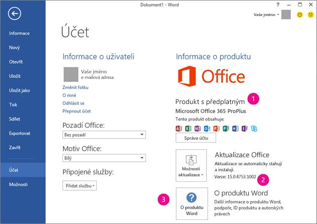 Soubor > Účet v předplatném Office 365