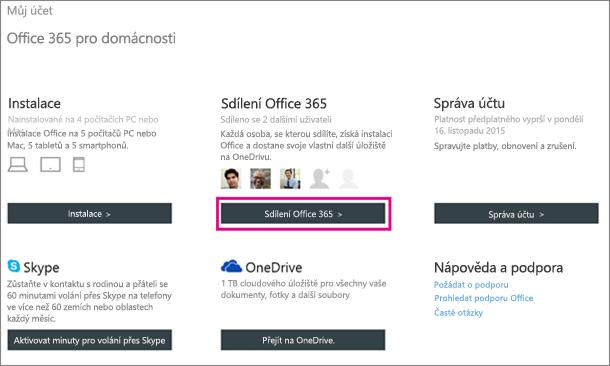 Snímek obrazovky s vybraným tlačítkem Sdílení Office 365 na stránce Můj účet.