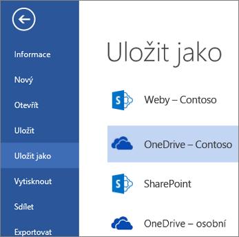 Složka OneDrive pro firmy při otevření nebo uložení souboru