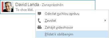 Snímek obrazovky s výběrem pro přidání k oblíbeným položkám