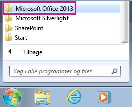 Office 2013 under Alle programmer i Windows 7