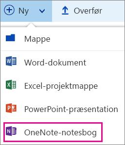 Opret en ny notesbog med menuen Ny