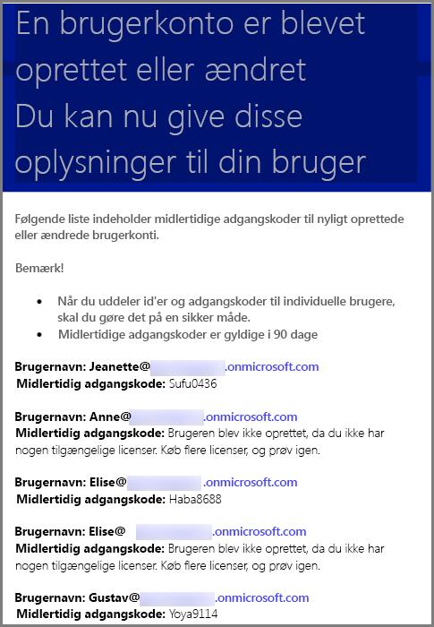 En prøvemail med oplysninger om brugerlegitimationsoplysninger