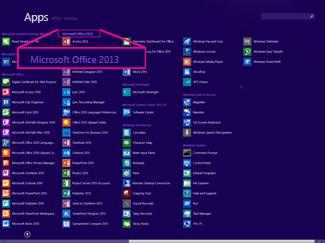 Find Office-programmet efter navn