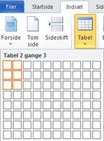 Indsætte tabel