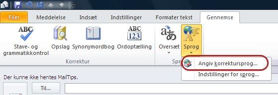 Outlook-bånd, fanen Gennemse, Sprog