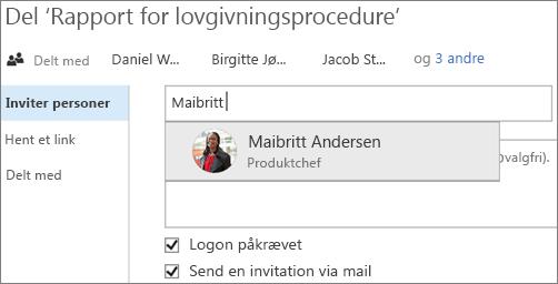Skærmbillede af deling af en fil i OneDrive for Business