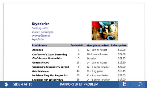 En integreret PDF-fil med et produktkatalog vises i Word Online