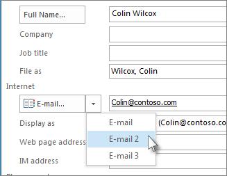 Tilføj en ekstra mailadresse for en kontakt