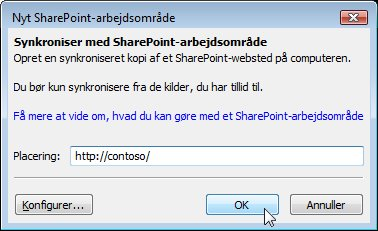 Dialogboksen Synkroniser til computer
