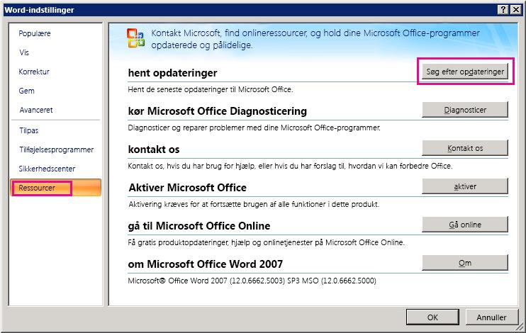 Søger efter Office-opdateringer i Word 2007