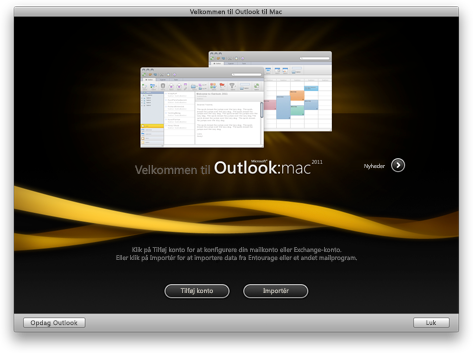 Startskærmbillede i Outlook