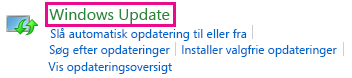 Link til Windows Update i Kontrolpanel i Windows 8
