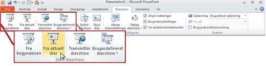 Fanen Diasshow i PowerPoint 2010 med gruppen Start diasshow.