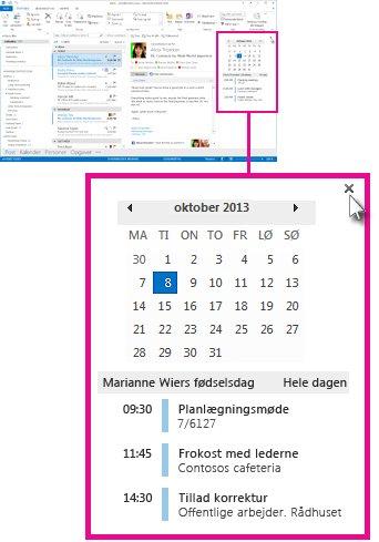 Kommandoen Fjern oversigten i den fastgjorte kalenderoversigt