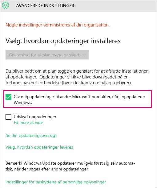Avancerede indstillinger i Windows Update
