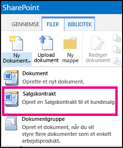 Rul ned i menuen Nyt dokument og få vist en indholdstype for salgskontrakten.