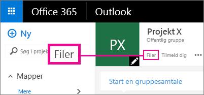 Skærmbillede af at klikke på Filer i en gruppe for at gå til gruppens OneDrive