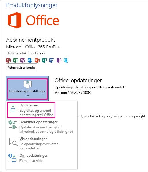 Manuel søgning efter Office-opdateringer i Word 2013