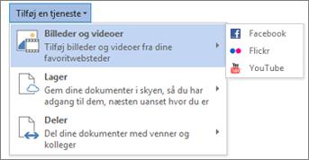 Tilføj en tjeneste som f.eks. Flickr eller Facebook for Office