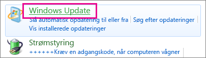Linket Windows Update i Kontrolpanel