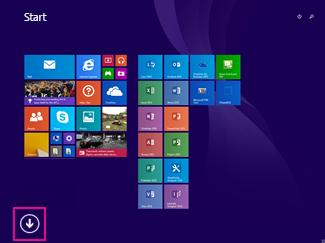 Klik på pilen nederst til venstre på skærmen