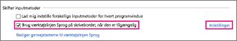 Office 2016 Windows 8 – Skift af inputmetode