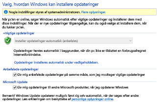 Windows Update-indstillinger i Kontrolpanel i Windows 8
