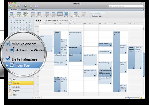 Outlook, der viser flere kalendere