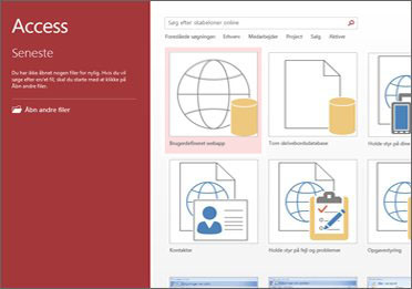 Velkomstskærmbilledet i Access, hvor søgefeltet og knapperne Brugerdefineret webapp og Tom skrivebordsdatabase er vises.