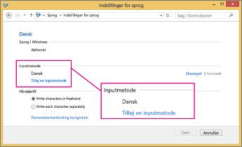 Office 2016 Windows 8 – Tilføj inputmetode