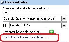 Indstillinger for oversættelse