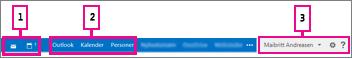 Navigationslinjen i Outlook Web App