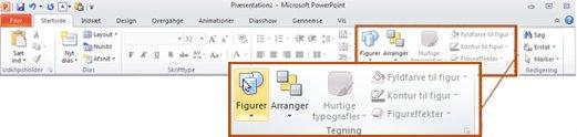 Fanen Startside i PowerPoint 2010 – gruppen Tegning.
