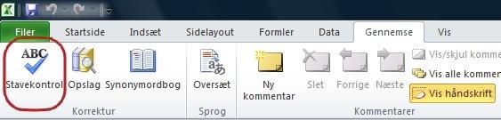Excel-bånd, fanen Startside, Stavekontrol