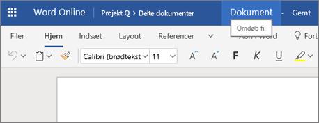 Klik på titellinjen for at ændre navnet på et dokument i Word Online
