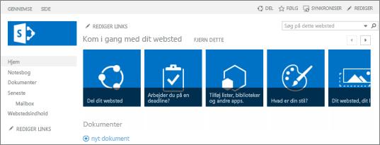Screenshot af teamwebsted i SharePoint 2013
