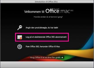 Installationsside til Office til Mac Home, hvor du logger på et eksisterende Office 365-abonnement.
