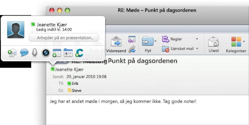 Chatbesked sendt fra Outlook