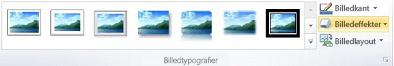 Gruppen billedtypografier under fanen Formater under Billedværktøjer