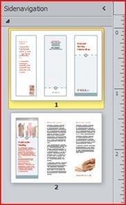 Trefløjet brochure med to sider vist i navigationsruden i Publisher 2010