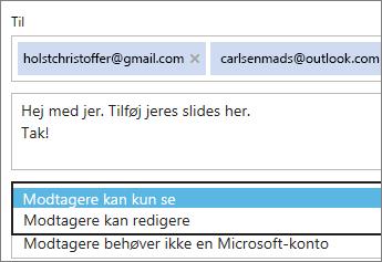 Vælge indstillingerne Kun visning og Kræver login i mailinvitationen