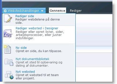 SharePoint Designer 2010 i menuen Webstedshandlinger
