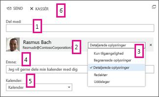 Dele kalender i Office Online