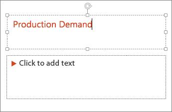 Viser Tilføj tekst til et tekstfelt i PowerPoint