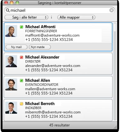 Dialogboks til søgning i kontaktpersoner