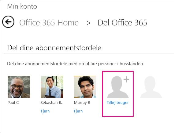 """Skærmbillede af siden Del Office 365 med indstillingen """"Tilføj bruger"""" valgt."""